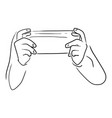 back view hand playing game with a console vector image vector image