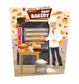 bakery and baker pastry food bread stove vector image vector image