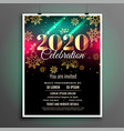 beautiful 2020 new year celebration flyer design vector image