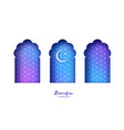 blue arabic window arch in paper cut style vector image