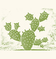 cactus silhouette vintage green cactus on old vector image vector image