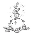 cartoon piggy bank with falling coins black vector image