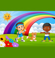 children sport and dog in the park on rainbow day vector image vector image