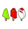 christmas ice cream on stick set christmas tree vector image vector image
