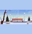christmas in city park empty public garden view vector image