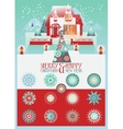 Christmas Set with House and Snowlakes vector image