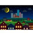 City and suburbs on hill at night vector image vector image