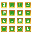 cleaning tools icons set green square vector image vector image