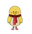 color crayon stripe cartoon of chicken with scarf vector image