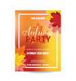 colorful card invitation with autumn leaves vector image vector image