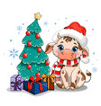 cow with christmas tree vector image