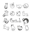 cute doodle cats vector image