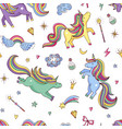 cute hand drawn magic unicorns and stars vector image vector image