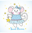 cute mouse character in blue dress with star vector image vector image