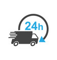 delivery truck 24h 24 hours fast delivery vector image vector image