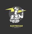 electrician man logo vector image vector image