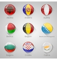 European flags set glossy buttons with