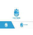 factory and planet logo combination vector image
