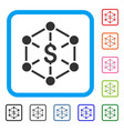 financial network framed icon vector image vector image