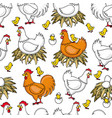flat chicken in nest chick seamless pattern vector image