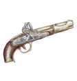 French flintlock antique pistol vector image vector image