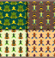 frog cartoon tropical animal seamless pattern vector image