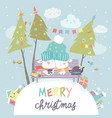 funny rabbits friends celebrating christmas vector image vector image