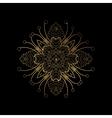 Golden floral lines frame vector image