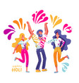 group young people celebrates holi men and vector image vector image
