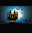 haunted castle halloween card background vector image vector image