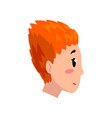 head of girl with short red dyed hair profile of vector image