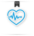 heart pulse beat - blue icon with shadow vector image vector image