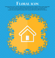 House Floral flat design on a blue abstract vector image vector image