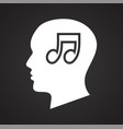 human head with music icon on black background for vector image