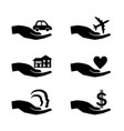 insurance hand icons set vector image vector image