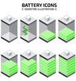 isometric battery icon set vector image vector image