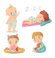 Kids cute babies in different situations colorful