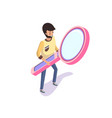 man holding big magnifying glass isolated 3d vector image vector image