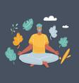 meditating man in yoga pose on dark vector image vector image