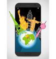 Modern smartphone with the Earth and sights vector image vector image