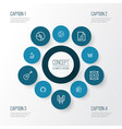 multimedia outline icons set collection of circle vector image vector image