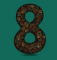 number eight with retro golden floral decor vector image vector image