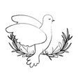 pigeon peace symbol side view in olive branch on vector image vector image