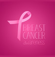 pink silk ribbon breast cancer awareness banner vector image