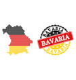 pixelated map of bavaria state colored in german vector image vector image