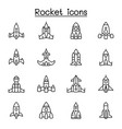 Rocket spaceship spacecraft icon set in thin line