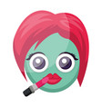 round blue female emoji face putting on lipstick vector image vector image