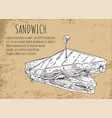 sandwich sketch on fast food banner with text vector image