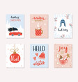 set of 6 merry christmas and happy new year gift vector image