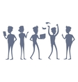 Set of Business People Silhouettes vector image